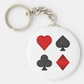 Playing Card Suits: Basic Round Button Keychain