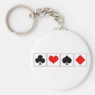 Playing card suits basic round button keychain