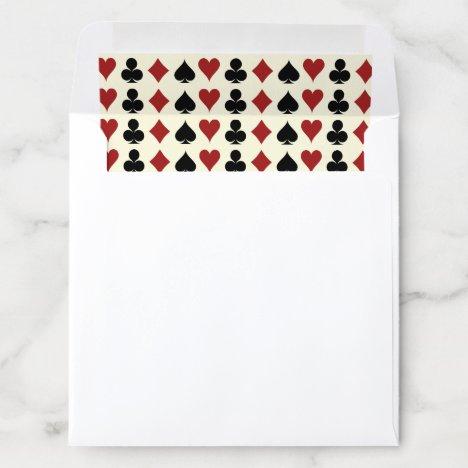 Playing Card Suits Black Ivory Las Vegas Wedding Envelope Liner