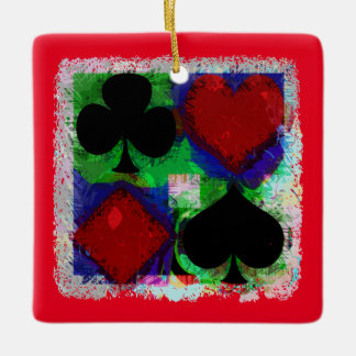 PLAYING CARD SUITS DESIGN CERAMIC ORNAMENT