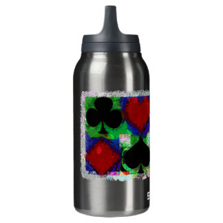 PLAYING CARD SUITS DESIGN INSULATED WATER BOTTLE