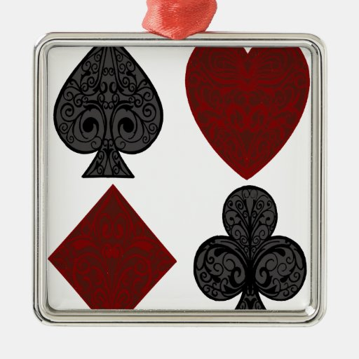 Playing Card Suits Design Metal Ornament