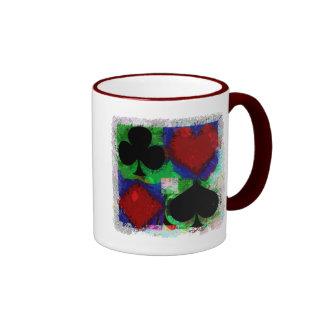 PLAYING CARD SUITS DESIGN RINGER COFFEE MUG