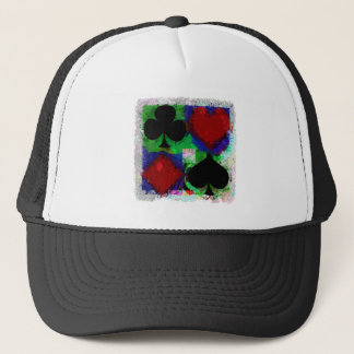 PLAYING CARD SUITS DESIGN TRUCKER HAT