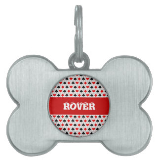 Playing card suits pattern pet tag