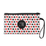 Playing card suits pattern wristlet purse