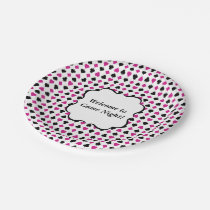 Playing Card Suits Pink and Black Paper Plate