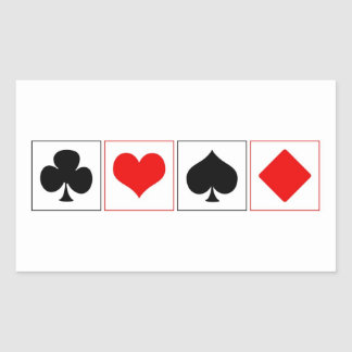Playing card suits rectangular sticker