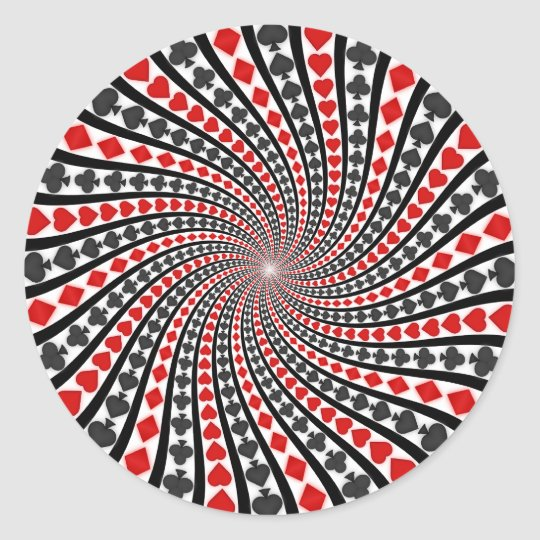 Playing Card Suits Spiral: Classic Round Sticker