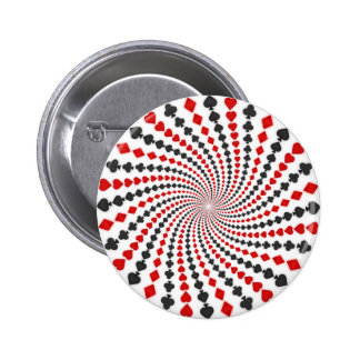 Playing Card Suits Spiral: Pinback Button
