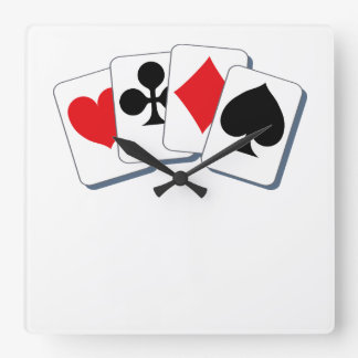 Playing Card Suits Square Wall Clock