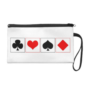Playing card suits wristlet purse