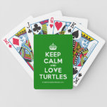 [Crown] keep calm and love turtles  Playing Cards