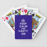 "Playing Cards<br><div class=""desc"">Based on the original Keep Calm and ...  poster this cream and blue Keep Calm and Party On Playing Card features a custom designed font that matches the original closely.</div>"