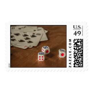 Playing Cards and Dice Postage Stamp