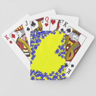 Playing Cards Blue and Yellow Flowers and Hearts