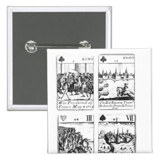 Playing cards commemorating 2 inch square button