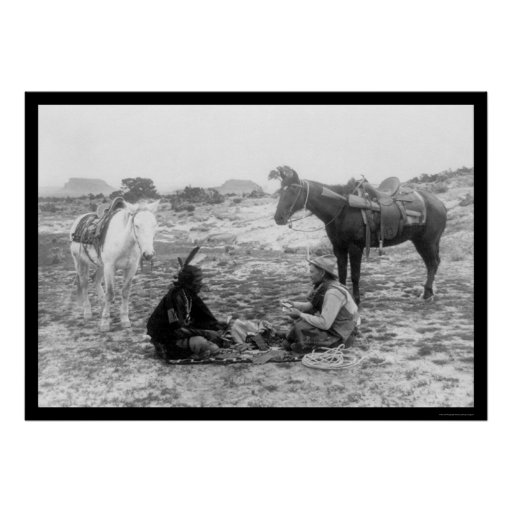 Playing Cards Cowboy and Indian 1915 Poster