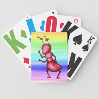 Playing Cards, Cute Red Ant, Fun Rainbow Colors Bicycle Playing Cards