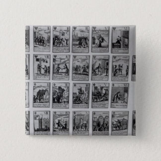 Playing cards depicting episodes pinback button