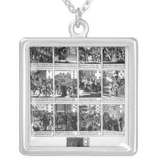 Playing cards depicting the impeachment silver plated necklace
