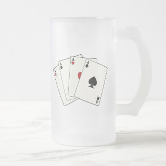 Playing Cards: Four Aces Frosted Glass Beer Mug