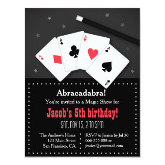 """Playing Cards Magic Party Invitations 4.25"""" X 5.5"""" Invitation Card"""