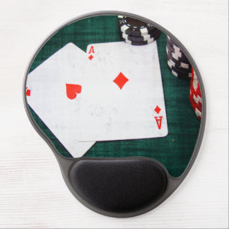 Playing Cards & Poker Chips Grunge Style Gel Mouse Pad