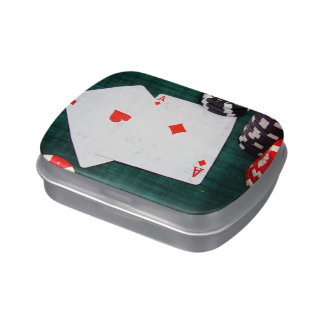 Playing Cards & Poker Chips Grunge Style Jelly Belly Candy Tins