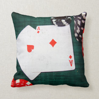 Playing Cards & Poker Chips Grunge Style Throw Pillow