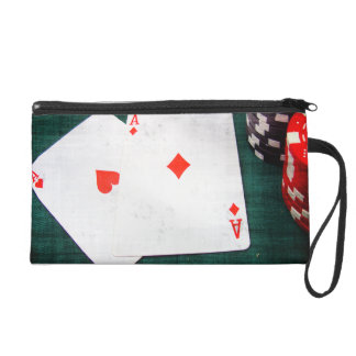 Playing Cards & Poker Chips Grunge Style Wristlet Purse