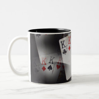 Playing Cards Quad Kings In A Pattern, Two-Tone Coffee Mug