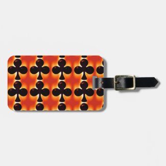 Playing Cards Suit of Clubs on Orange Luggage Tag