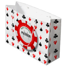 Playing Cards Suits With Monogrammed Poker Chip Large Gift Bag