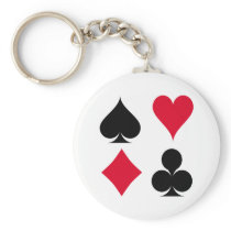 Playing cards symbols pattern keychain