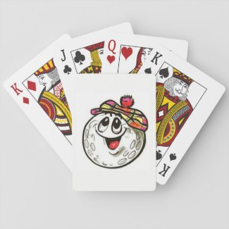 Playing cards with a golf ball face image