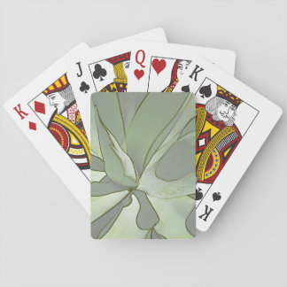 playing cards with aloe design in muted greens