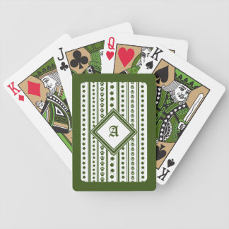 Playing Cards with Four-Leaf Clover & Monogram