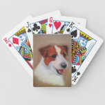 Playing cards with painted Jack Russell Terrier