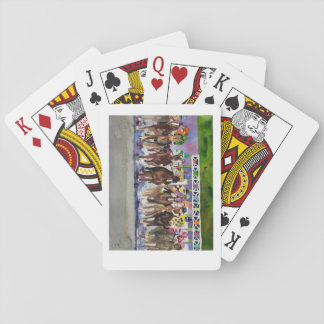 Playing cards with painting of the Kentucky Derby.