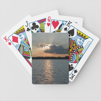 playing cards with photo of silver-lining sunset