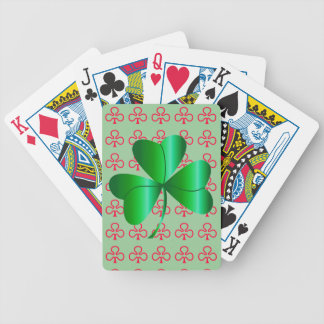 Playing Cards with Shamrock Design