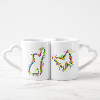 Playing Cat with Butterfly Splash Coffee Mug Set