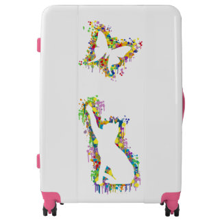 Playing Cat with Butterfly Splash Luggage