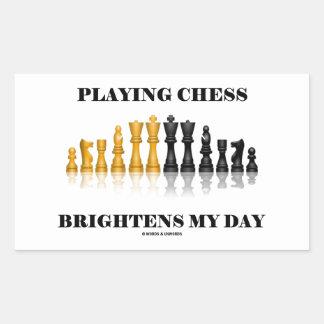 Playing Chess Brightens My Day (Chess Set) Rectangular Sticker
