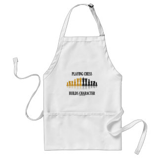 Playing Chess Builds Character (Reflective Chess) Adult Apron