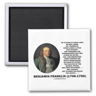 Playing Chess Caution Benjamin Franklin Quote 2 Inch Square Magnet