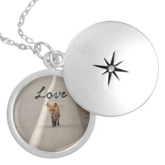 Playing Chicken with a Fox; Customizable Round Locket Necklace