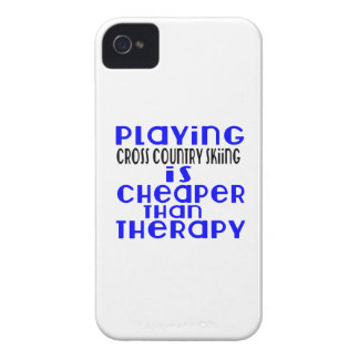 Playing Cross Country Skiing Cheaper Than Therapy iPhone 4 Case-Mate Case