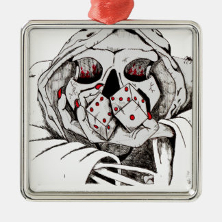 playing dice with the reaper metal ornament